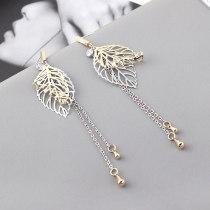 European and American Creative Fashion Leaf Earrings Women's Long Tassel Ear Stud S925 Sterling Silver Pin 139849