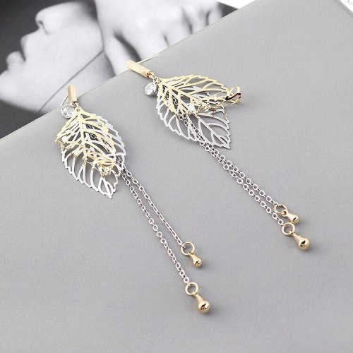 European and American Creative Fashion Leaf Earrings Women's Long Tassel Ear Stud S925 Sterling Silver Pin 139849