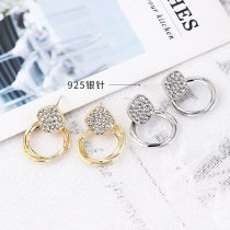 Silver Needle Anti-Allergy Earrings Female European Creative Personality Geometric Diamond Circle Crystal Earrings 138838