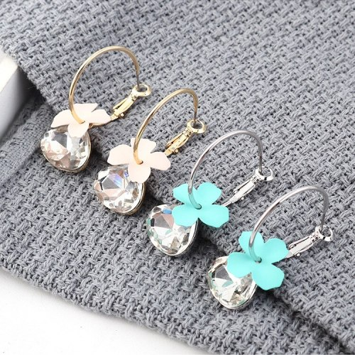 New Korean Fashion Frosted Flower Earrings Girl's Heart Elegant Glass Ear Stud Small Jewelry 139598