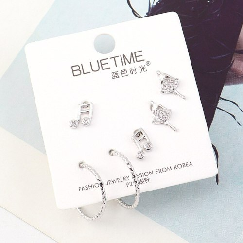 Korean Hipster Note Ear Stud S925 Sterling Silver Pin Creative Fashion Cool Simple Dancing Girl's Earrings 140461