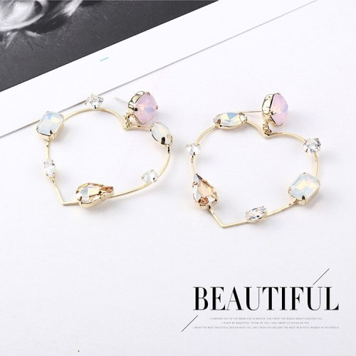 Korean-Style Stylish Geometric Zircon Earrings Women's Creative Exaggerated Lovely Stud Earrings 138930