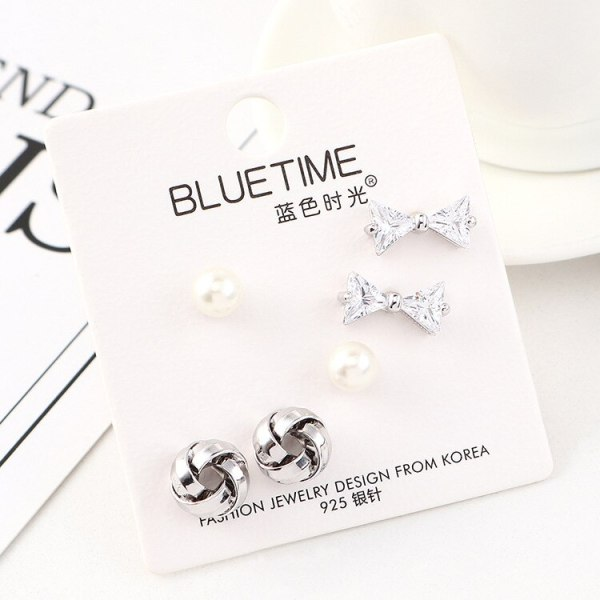 European and American Fashion Simple Pearl Earrings Girl's Versatile Hipster Bow S925 Silver Needle Stud Earrings 140462
