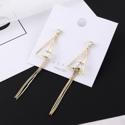 New Korean Fashion Elegant Earrings Women's Tassel Earrings S925 Sterling Silver Needle Triangle Stud Earrings 138823