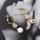European Simple Fashion Pearl Earrings Women's Circle Hollow-out Vintage Earrings Sterling Silver Needle Stud Earrings 139838