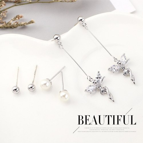 Women's Korean-Style Simple Pearl Stud Earrings  Creative Hipster Zircon Earrings S925 Silver Pin Set 140460