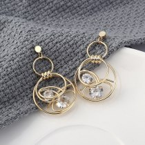 Korean Fashion All-match Zircon Earrings Female Temperament Double Coils Hollow-out Earrings Anti-Allergy Silver Needle 138888