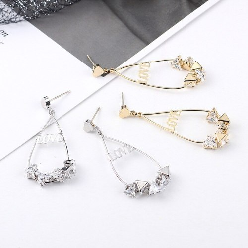 European Simple Creative Cool Zircon Earrings Female Love Letter Earrings Small Peach Heart S925 Silver Needle Earrings 138928