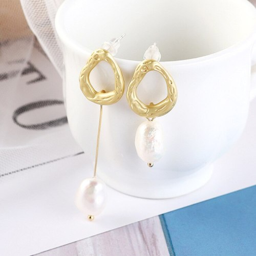 European Fashion Personality Asymmetric Natural Pearl Earrings Female Vintage Earrings S925 Silver Needle Earrings 138710
