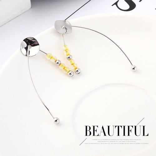 Korean Exaggerated Fashion round Plate Earrings Female Acrylic Yellow Bead Earrings Anti-Allergy Sterling Silver Needle 139550
