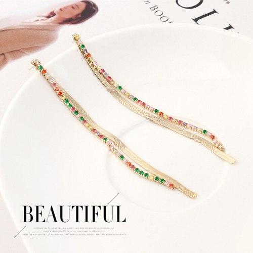 Korean Fashion Long All-match Colorful Tassel Earrings Women's Simple Temperament Diamond Set Silver Pin Earrings Jewelry 140157