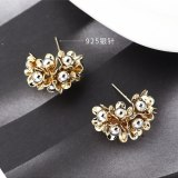 S925 Silver Needle European and American Exaggerated Fashion Gold-Plated Flower Earrings Female Fashion Jewelry 138893