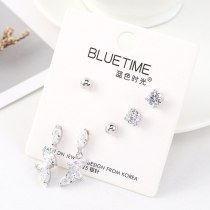 Korean Simple Fashion Four-Claw Square Crystal Earrings S925 Silver Needle Temperament All-match Zircon Earrings 140467