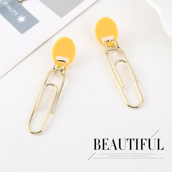 Creative Personalized Paper Clip Earrings Women's All-match Simple Retro Resin Earrings S925 Sterling Silver Needle B-4465
