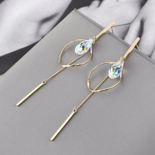 New Korean Style Elegant Fashion Drop-Shaped Crystal Earrings  All-match Oval Hollow Tassel Earrings Small Jewelry 139830