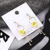 European Fashion Sterling Silver Stud Earrings Female Hipster Cute Yellow Flower Ear Stud Elegant Pearl Tassel Earrings 138986