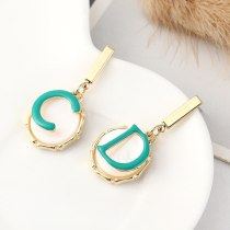 European Simple Fashion CD Lettered Ear Pendant Girl Hipster All-match Cool Resin Earrings S925 Silver Needle Ornament 140543
