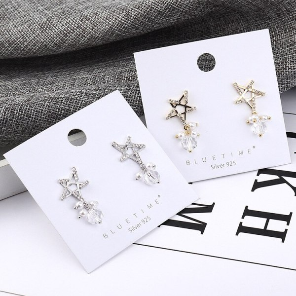 Earrings Female Five-Pointed Star Pearl Earrings Fashion Temperament Earrings Anti-Allergy Jewelry Wholesale 138964