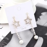 Creative Cool Five-Pointed Star Earrings Women's Long Fashion All-match Temperament Pearl Earrings S925 Silver Needle 140320