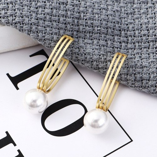 S925 Silver Needle Stud Earrings European and American Fashion Earrings Female Hollow Pearl Earrings 138847