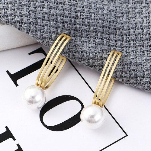 S925 Silver Needle Stud Earrings European and American Fashion Earrings Female Hollow Pearl Earrings 138847