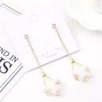 Korean Style Fashion Tassel Zircon Earrings Women's Cool All-match Creative Pearl Ear Pendant S925 Silver Needle Ornament 140566