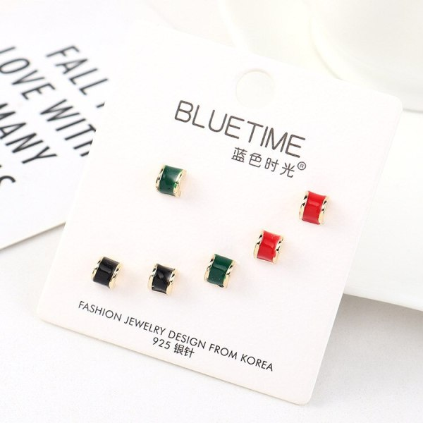 S925 Sterling Silver Pin Earrings Set Korean-Style Simple Fashion Hipster All-match Painted Oil Earrings Jewelry 140463