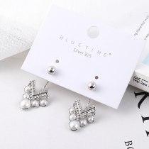 Retro Stud Earrings Women's Heart-Shaped Pearl Earrings Anti-Allergy S925 Sterling Silver Needle Earrings Small Jewelry 138939