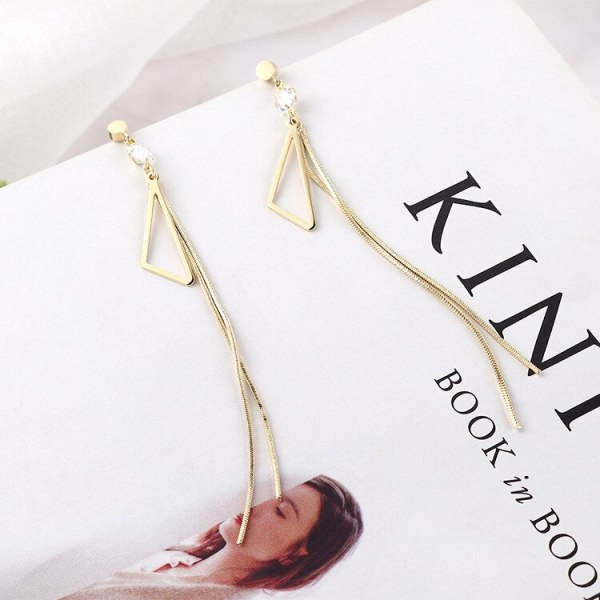 New Korean Style Elegant Fashion Asymmetric Triangle Ear Stud Female Tassel Earrings S925 Sterling Silver Needle Ear Stud 138860
