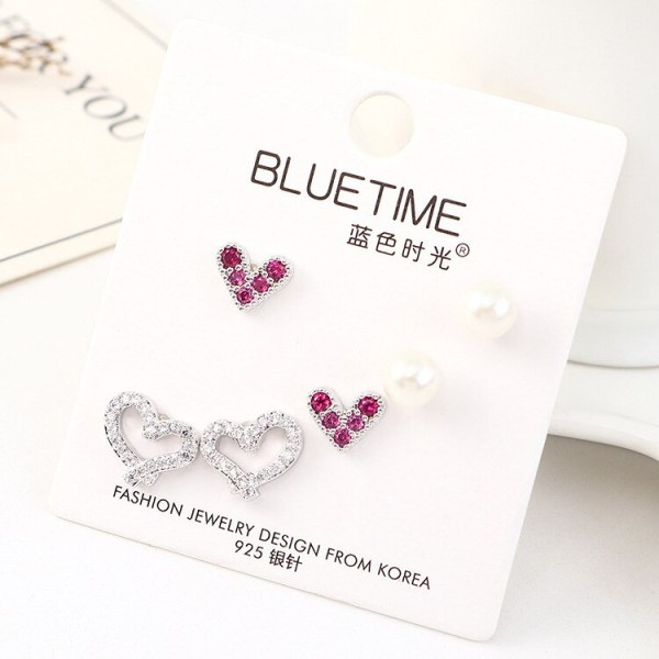 S925 Sterling Silver Pin Pearl Stud Earrings Set Girls Korean All-match Simple Hipster Lovely Earrings Fashion Jewelry 140459