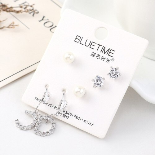 European Fashion Simple Hipster Pearl Earrings All-match Lettered Zircon Ear Pendant Female S925 Silver Needle Set 140464
