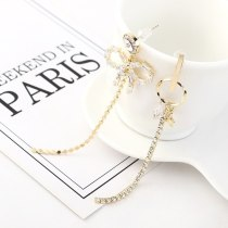 Cool Bow Zircon Earrings Female Fashion All-match Five-Pointed Star Asymmetric Tassel Earrings S925 Silver Needle 140546