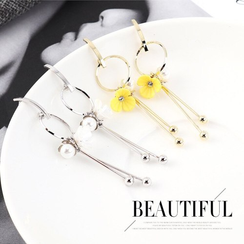 European Fashion Sterling Silver Stud Earrings Female Hipster Cute Yellow Flower Ear Stud Elegant Pearl Tassel Earrings 138986