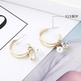 New Creative Exaggerated C- Shaped Pearl Earrings Female Square Zircon Earrings 925 Sterling Silver Needle Jewelry 138726