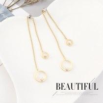 Korean Fashion Creative All-match Pearl Zircon Earrings Women's Temperament Asymmetric Tassel Stud Earrings 140555