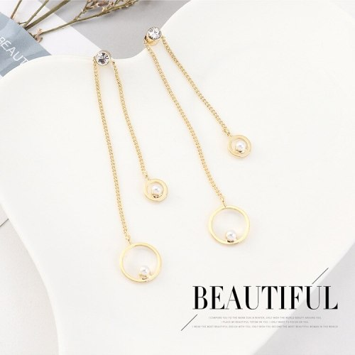 Korean Fashion Creative All-match Pearl Zircon Earrings Women's Temperament Asymmetric Tassel Stud Earrings 140555