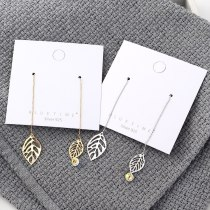 New Korean Style Elegant Long Hanging Earrings Asymmetric Leaves Crystal Ear Pendant Tassel Earrings Jewelry 140132