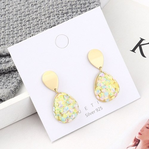 Korean Style Fashion Hipster Acrylic Earrings Female All-match Color Girl's Heart S925 Silver Needle Ear Stud Ornament 140154