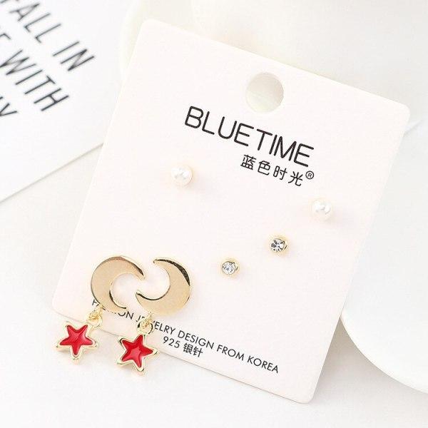 S925 Silver Needle Korean Simple Pearl Stud Earrings Female Fashion Temperament Star Moon Earrings Jewelry Set 140473