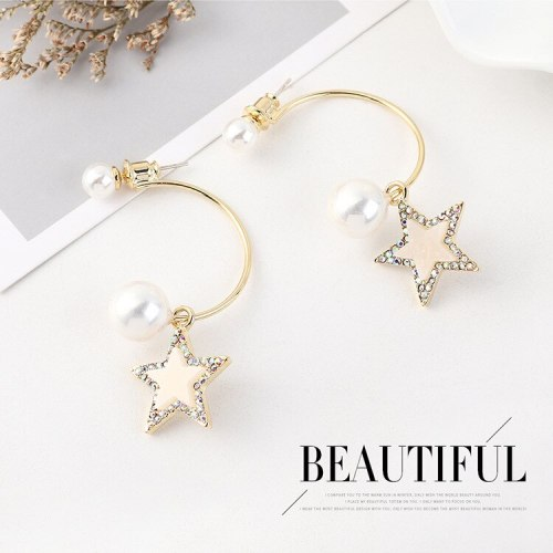 S925 Silver Needle Fashion Creative Simple Pearl Earrings Female Cool Hipster Five-Pointed Star Earrings Wholesale 140544