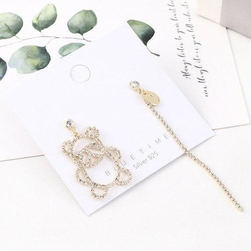Creative Exaggerated Asymmetric Cute Little Panda Earrings  Women's Long Elegant Tassel Earrings S925 Sterling Silver Pin 140496