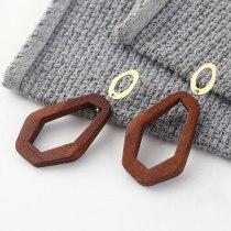 New Korean Fashion Simple All-match Irregular Wooden Earrings Female Geometric Hollow S925 Silver Needle Ear Stud 140187