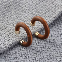 European Fashion Creative Cool Wood Earrings Female C- Shaped Half Circle Hollow Earrings 925 Silver Needle Earrings 140189