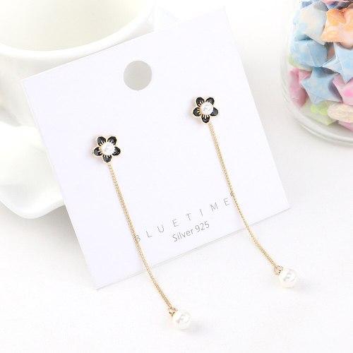 S925 Sterling Silver Needle Temperament Fashion Flower Earrings Girls Wild Personality Tassel Pearl Earrings Jewelry 140479