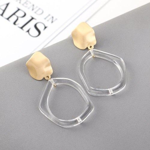European Cool Geometric Resin Earrings Female Fashion All-match Simple Small Lotus Leaf Earrings S925 Silver Needle 140541