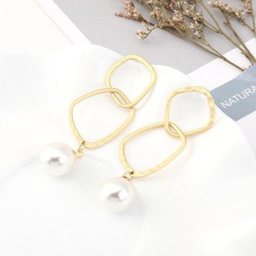 New European Fashion Cool Creative Pearl Earrings Female All-match Temperament Geometric Earrings S925 Silver Needle 140564