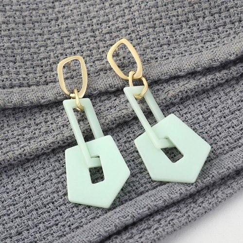 Korean Fashion Exaggerated Cool Acrylic Earrings Women's Long Hipster Geometric Cutout Earrings 140188