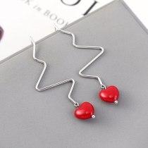 Korean-Style Creative Heart Resin Earrings Women's Long All-match Red Ear Pendant S925 Silver Needle Ear Stud 140366