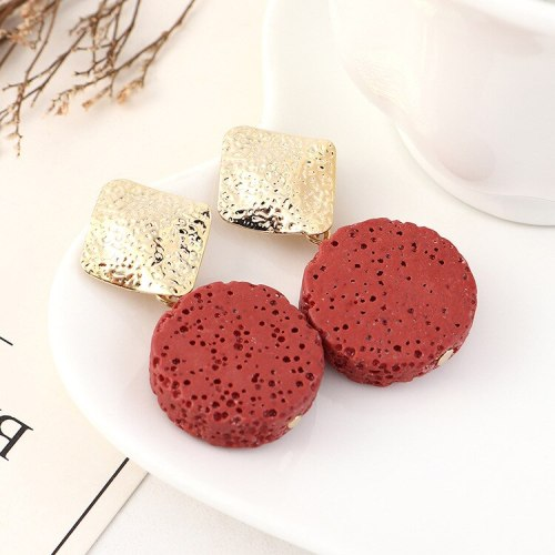 New European Exaggerated Cool Simple Dot Circle Earrings Women's Retro S925 Silver Needle Stud Earrings 140491