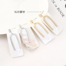 Korean Style Simple Rectangular Shell Earrings Female All-match Hipster Cool 925 Silver Pin Lettered U-Shaped Ear Stud 140395